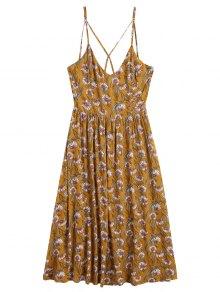 Sunflower Criss Cross Midi Dress - Yellow S