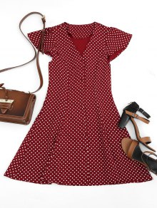 Button Up Polka Dot Mini Dress - Wine Red L