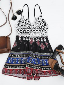 Graphic Padded Crochet Panel Romper - Black L