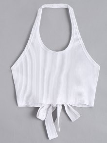 Halter Criss Cross Ribbed Crop Top - White L