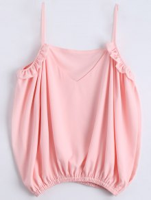 Slit Cold Shoulder Cami Ruffles Blouse - Shallow Pink S