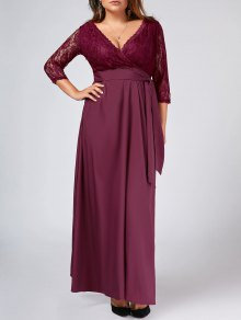 Lace Panel Belted Plus Size Prom Dress - Purplish Red 3xl