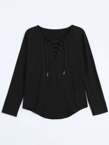 Lace Up Long Sleeve Plunge Tee - Black Xl