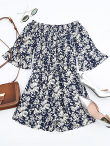 Floral Print Flare Sleeve Romper - Floral S