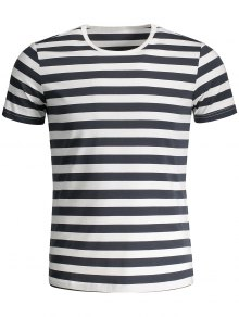 Mens Crewneck Striped Jersey Tee - Grey And White Xl