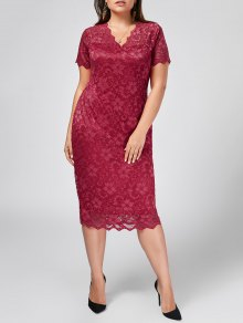 Plus Size Scalloped Lace Bodycon Dress - Rose Red 2xl