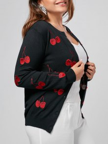 Cherry Embroidered Plus Size Cardigan - Black Xl