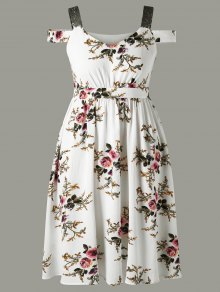 Plus Size Tiny Floral Cold Shoulder Dress - White 2xl