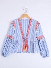 Bow Tie Tassels Stripes Blouse - Stripe L