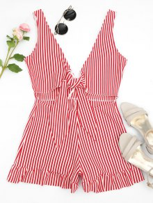 Bowknot Stripes Cut Out Romper - Stripe S
