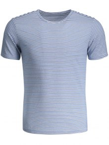 Mens Striped Crewneck Jersey Tee - Blue And White 3xl