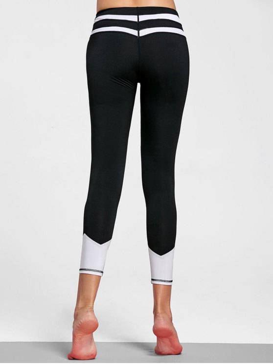 Leggings rayés en cuir - Blanc et Noir S