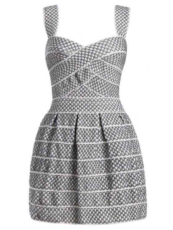 Sweetheart Neck Shiny Mini Dress - Blanc Argent L