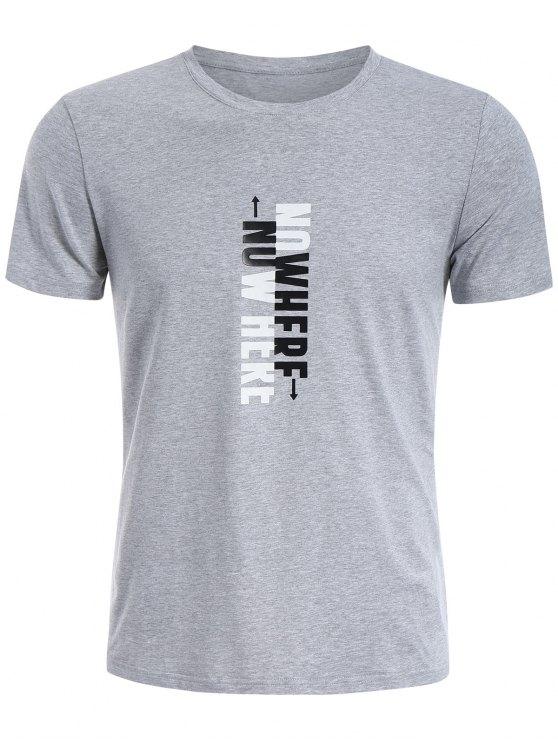 T-shirt graphique slogan pour hommes Crewneck - Gris XL