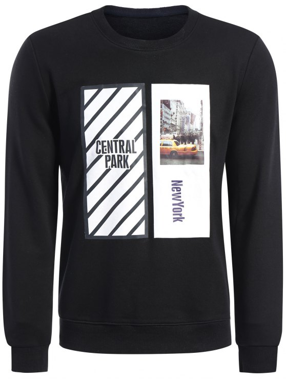 Pullover Graphic Print Men Sweatshirt - Noir XL