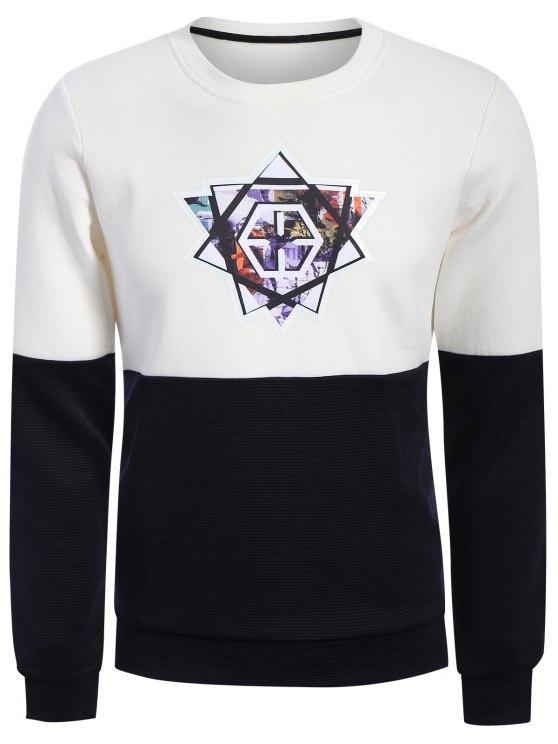 Pullover Graphic Color Block Sweatshirt - Blanc et Noir XL
