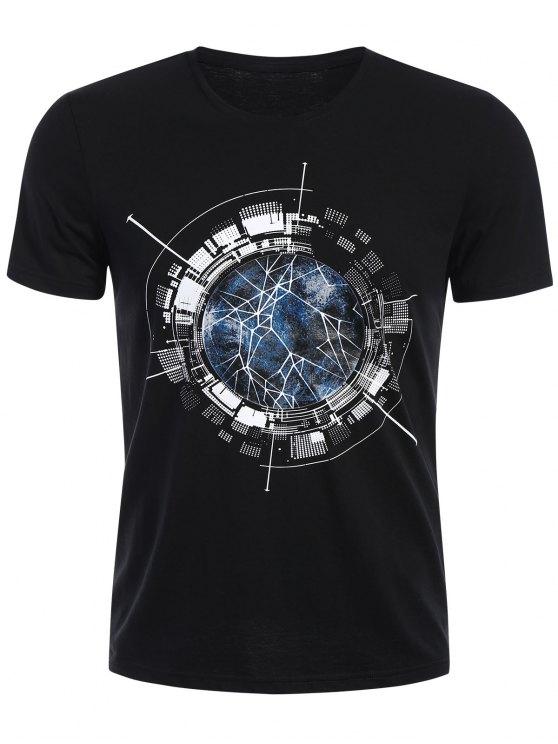 T-shirt à manches courtes à manches courtes - Noir XL