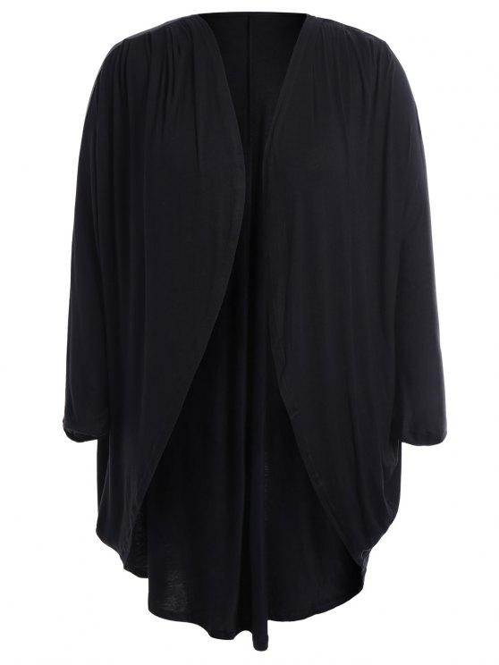 Collarless Plus Size Open Front Top - Noir 4XL