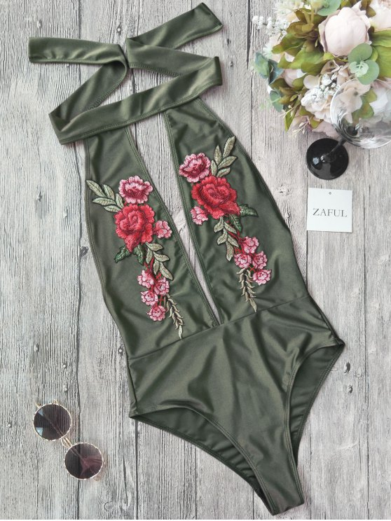 Backless Floral Applique Choker Swimsuit - Vert S