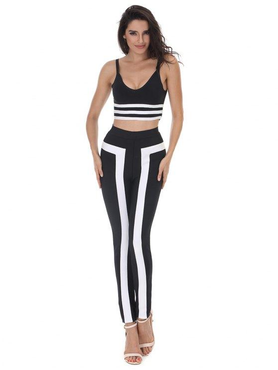 Ensemble de pantalons et de pantalons rayés Cami - Noir M