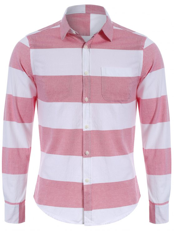 Chemise à rayures simples à poitrine - Rouge et Blanc XL