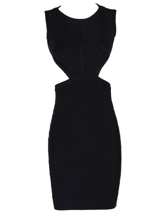 womens Halter Open Back Bodycon Bandage Dress - BLACK L