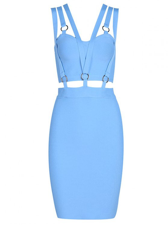 online Zippered Cut Out Fitted Dress - SKY BLUE L