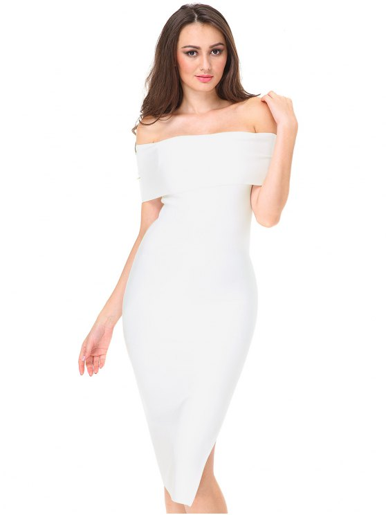 fashion Off The Shoulder Side Slit Fitted Dress - WHITE L