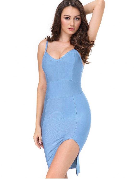 unique Slit Fitted Cami Bandage Dress - SKY BLUE S