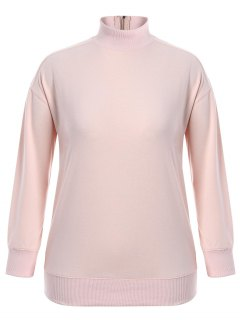 Zipper High Collar Plus Size Sweatshirt - Pink 4xl