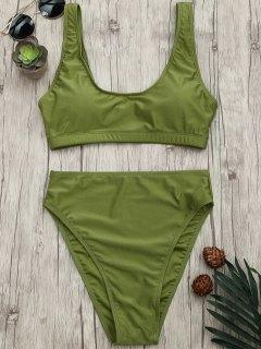 High Cut Scoop Bralette Bikini Set - Green M