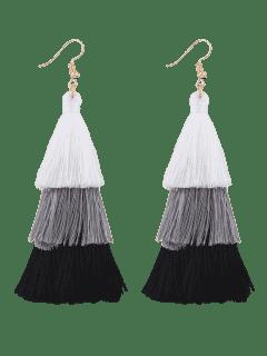 Tassel Layered Hook Drop Earrings - Black + White