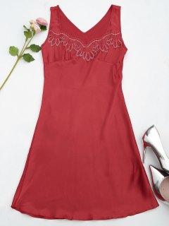 Lace Trim Satin Sleep Tank Dress - Red M