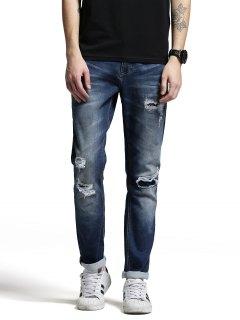Zip Fiy Men Ripped Jeans - Denim Blue 36