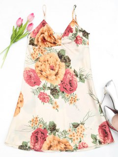 Lustrous Floral Print Satin Slip Dress - Multicolor