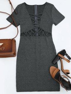 Criss Cross Cut Out Plunge Knitted Dress - Deep Gray M