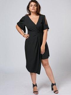 Plus Size Slit Asymmetrical Dress - Black 2xl
