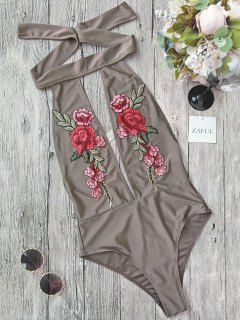 Backless Floral Applique Choker Swimsuit - Light Brown M