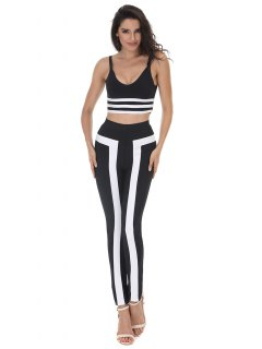 Striped Cami Crop Top And Pants Set - Black L