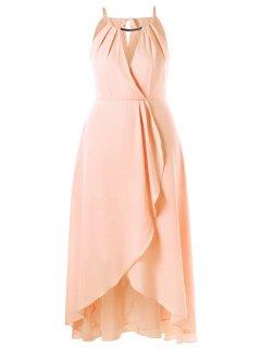 Plus Size Cut Out Overlap Flowing Dress - Pinkbeige 2xl
