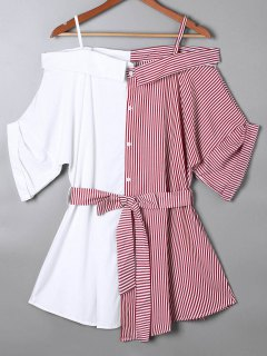 Off The Shoulder Pinstripe Blouse - Red S