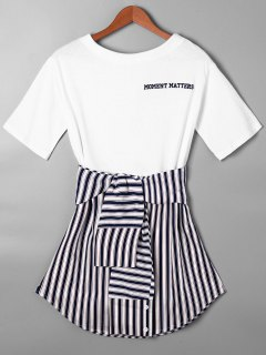 Striped Tie Belt Curved Hem Tee Dress - Purplish Blue S