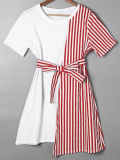 Striped Asymmetrical Mini Tee Dress - Red S