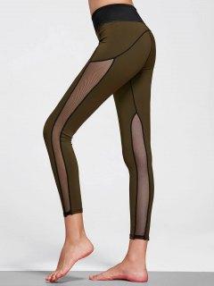 Mesh Insert Stretchy Yoga Leggings - Olive Green S