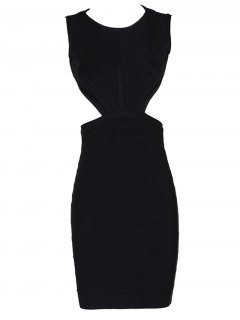 Halter Open Back Bodycon Bandage Dress - Black S