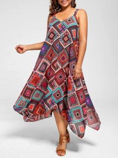 Plus Size Spaghetti Strap Geometric Print Handkerchief Dress - Multi 5xl