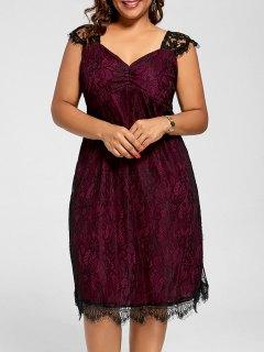 Lace A Line Plus Size Cocktail Dress - Wine Red 5xl