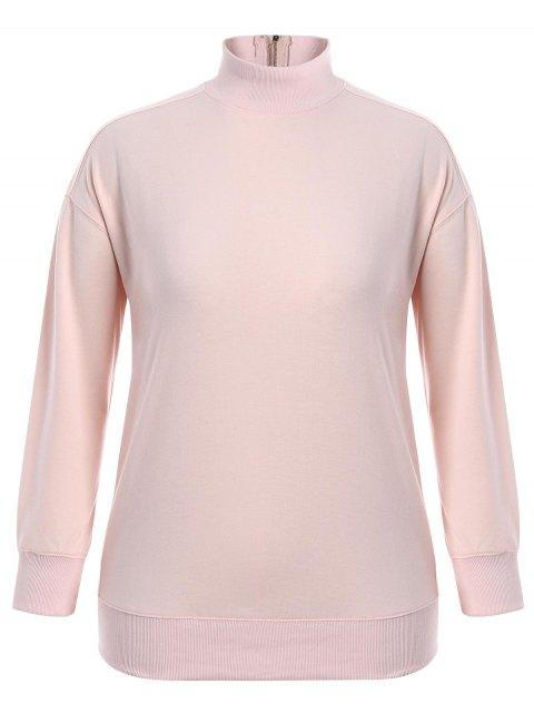 shop Zipper High Collar Plus Size Sweatshirt - PINK 3XL Mobile