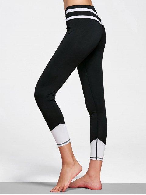 Leggings rayés en cuir - Blanc et Noir XL Mobile