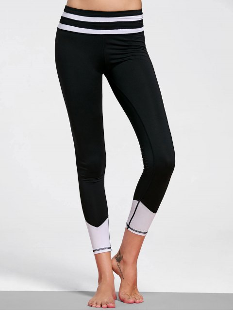 Leggings rayés en cuir - Blanc et Noir L Mobile